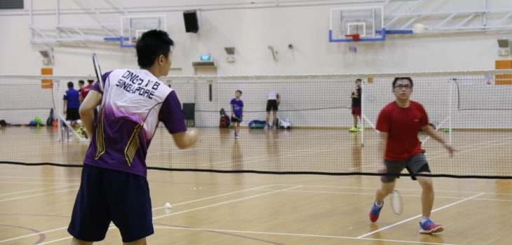 Badminton sparring match singles match